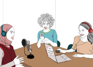 Women recording a podcast